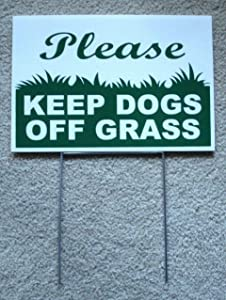 Peter Select Please Keep Dogs Off Grass 8''X12'' Plastic Coroplast Sign with Stake New White Funny Retro Vintage Business Nostalgic Signs