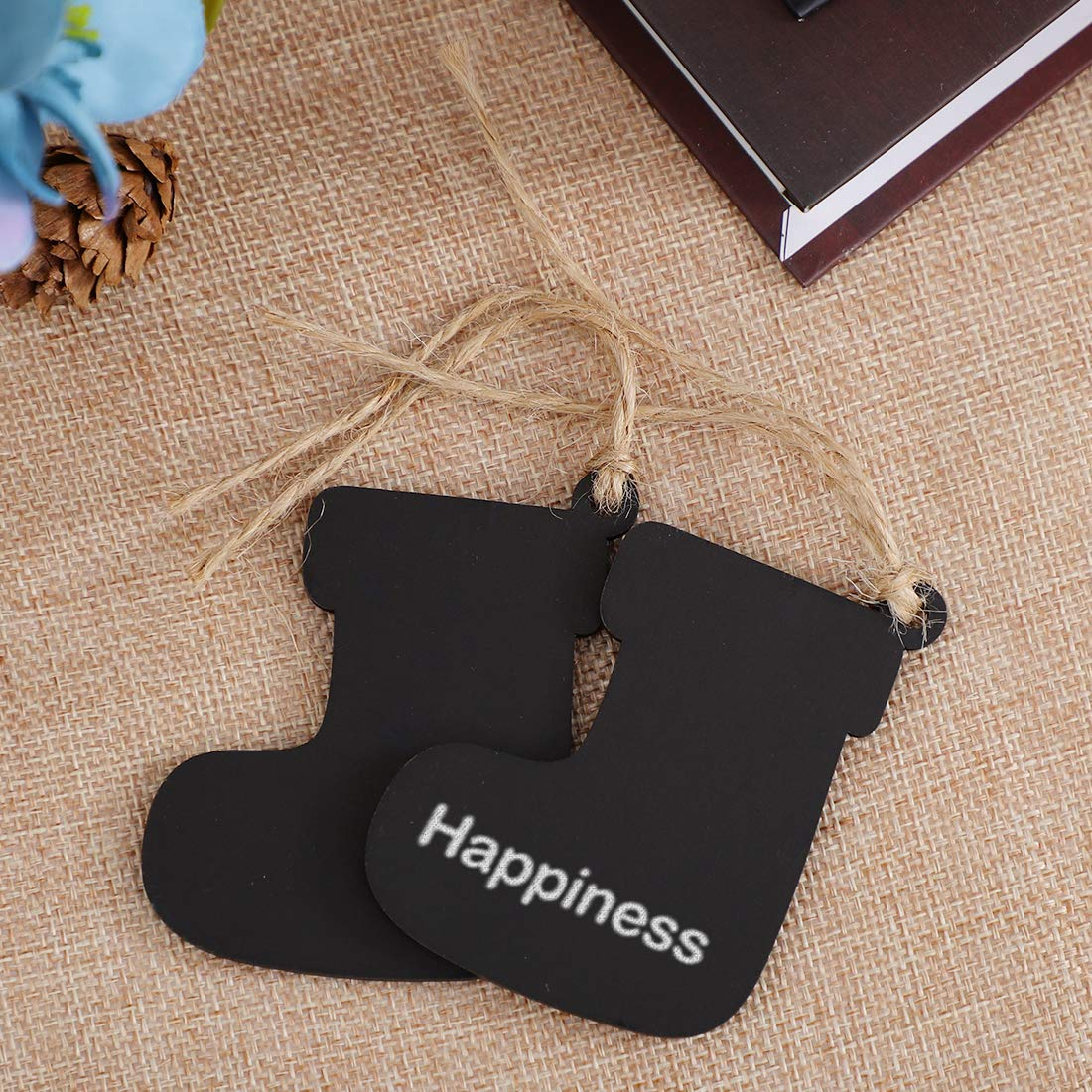 uxcell 10pcs Mini Chalkboards Signs with Hanging Rope Wood Sock Design Chalkboard Tag for Weddings Birthday Party Message Board Signs Table Number Reminder Price Tag