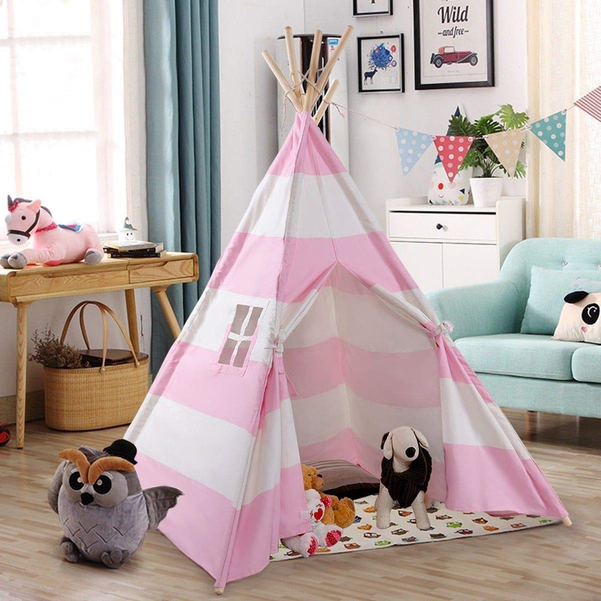 GooGGIG 5 Ft Sweetheart Playhouse Indian Teepee Tent, Pink and White for Kid