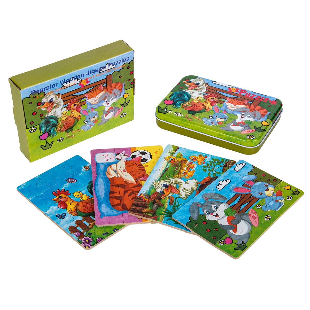 Kids puzzles for toddlers 3 years, 4 in 1 Wooden Jigsaw Puzzles with a Storage Box (Forest Animals) Bearstar