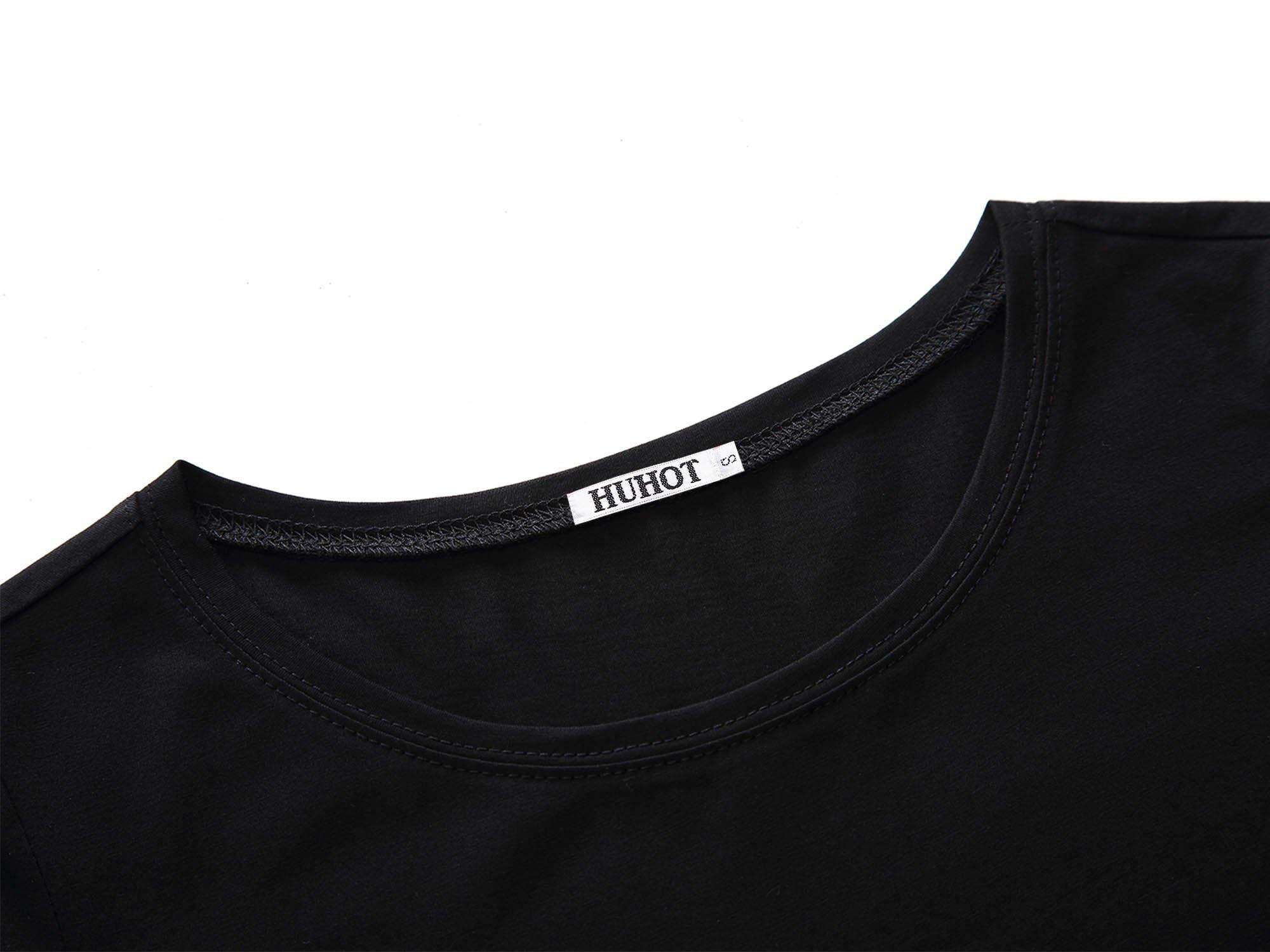 HUHOT Women Short Sleeve Round Neck Summer Casual Flared Midi Dress Large Black by HUHOT (Image #3)