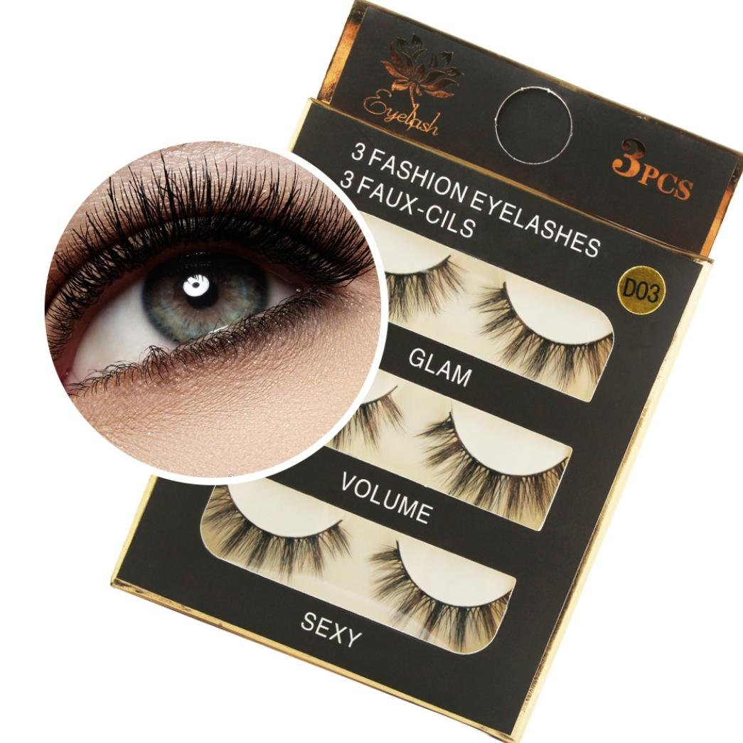 Tuu 1 Box 3D Eyelashes Hand Made Fluffy Strip Lashes Soft Flase Eye Lash (D03)