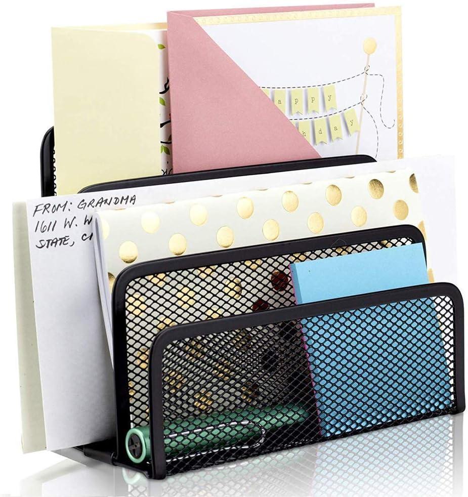 Visitenkartenhalter Vertikaler Briefhalter aus Metallgeflecht B/üro-Ordner St/änder mit 3 aufrechten F/ächern Schwarz Papier-Organizer Briefablage Briefablage schwarz