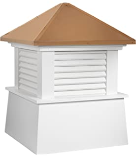 """Manchester Vinyl Cupola, Perfect Size for a Small Shed, 18"""" square x 22"""" high, Pure Copper Roof, Quick Ship"""