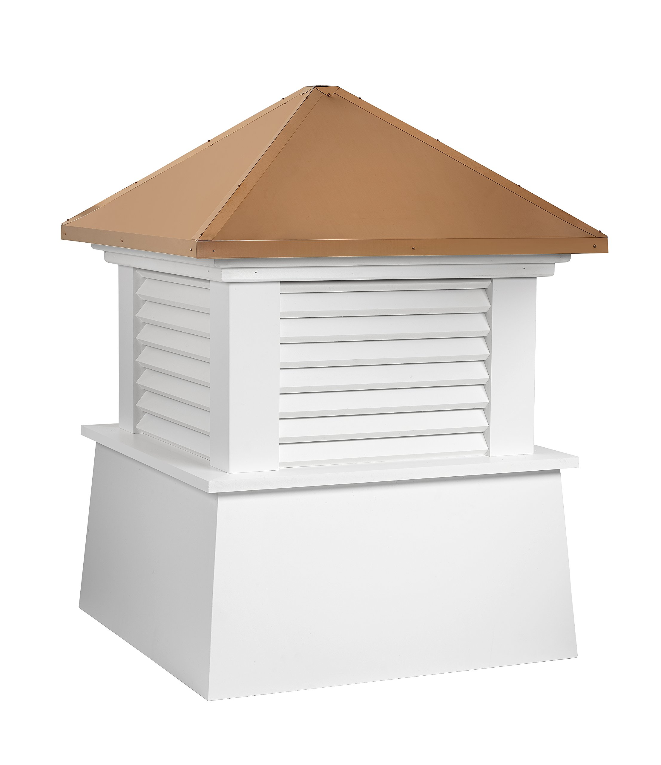 Good Directions Vinyl Manchester Louvered Cupola with Pure Copper Roof,  Maintenance Free Solid Cellular PVC Vinyl, 42'' x 54'', Reinforced Roof and Louvers, Cupolas