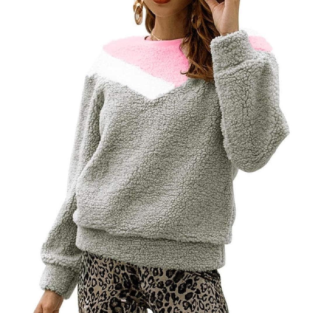 Doufine Womens Collision Color Tops Fleece Pullover Warm Sweatshirt
