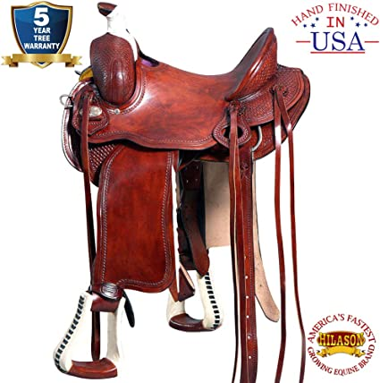 USED 15 16 17 TOOLED LEATHER TRAIL PLEASURE HORSE WESTERN RANCH ROPING SADDLE