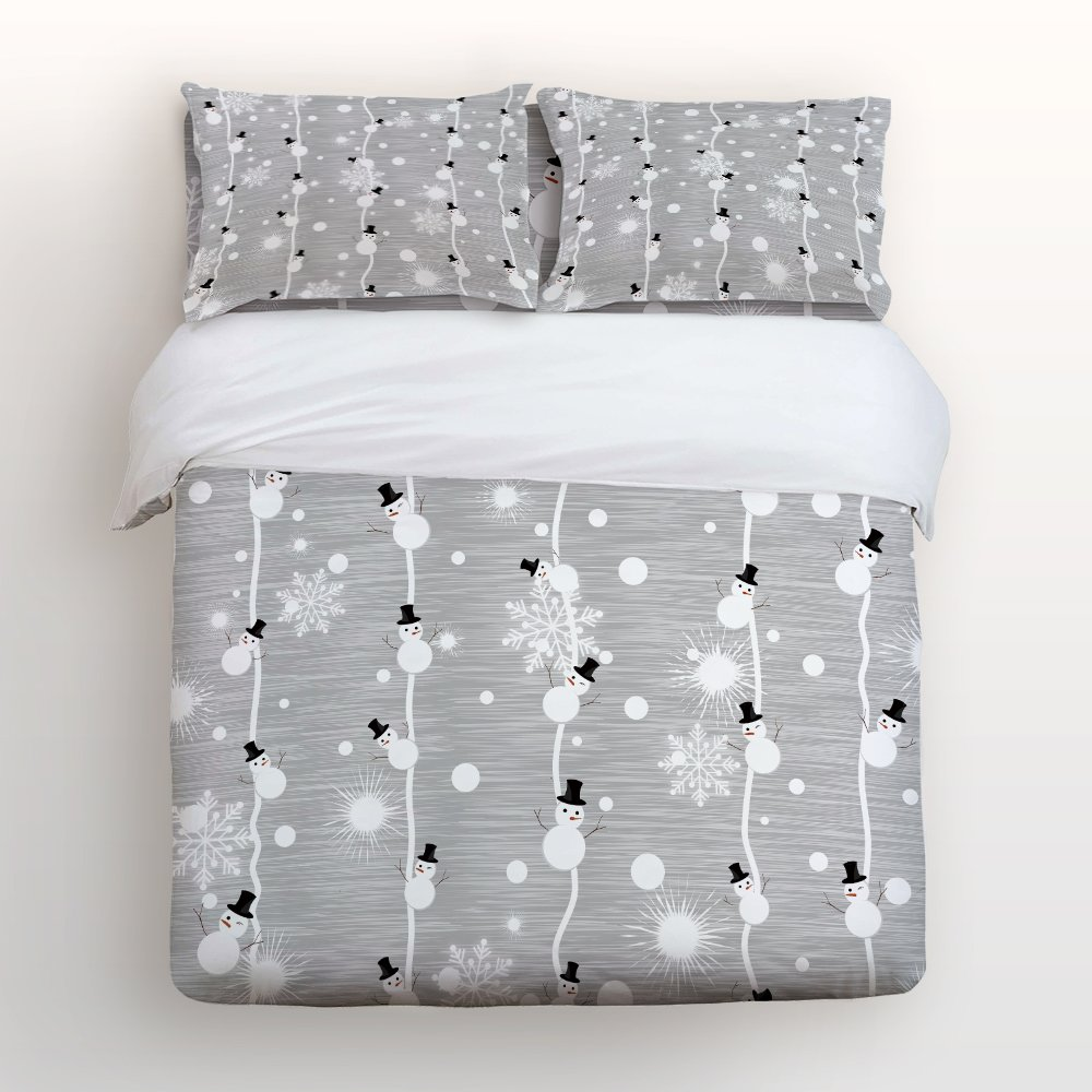 Libaoge Bright Grey 4 Piece Bed Sheets Set, Christmas Theme Cartoon Snowman and Snowflake Print, 1 Flat Sheet 1 Duvet Cover and 2 Pillow Cases