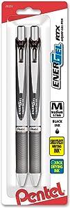 Pentel EnerGel Deluxe RTX Retractable Liquid Gel Pen, 0.7mm, Metal Tip, Black Ink, 2 Pack (BL77BP2A)