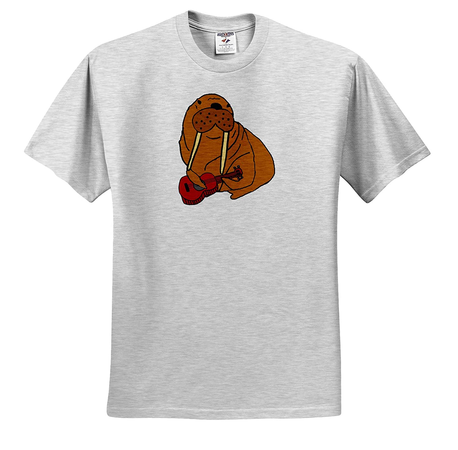 Funny Cute Walrus Playing Ukulele Music Cartoon Music Adult T-Shirt XL 3dRose All Smiles Art ts/_315264