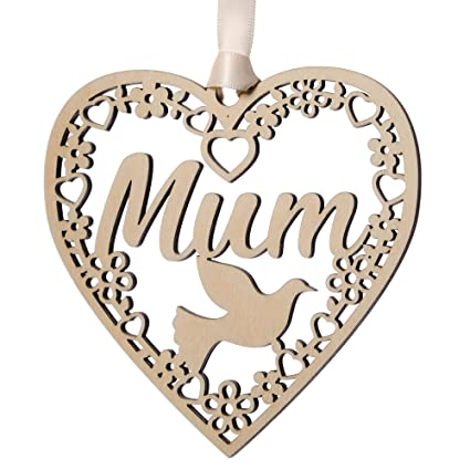 MUM Memorial Bauble Christmas Tree Plaques Wooden Heart Decoration Sign Gift