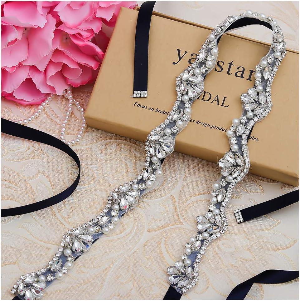 Yanstar Crystal Rhinestone Wedding Bridal Belt Sashes For Wedding Dress