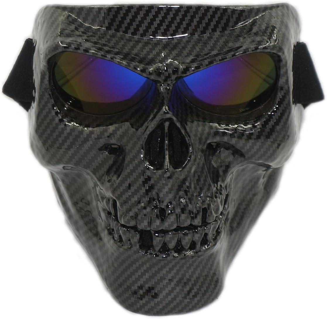 Vhccirt máscara de Calavera con Gafas a Prueba de Viento táctica Esqueleto Fantasma Spooky máscara para Airsoft/Paintball/Motocicleta/Motocicleta/Carreras de Motor, Lente Azul Fibra de Carbono.