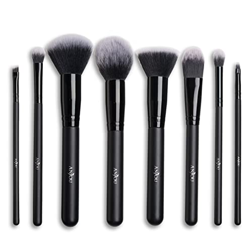 Makeup Brush Set Anjou 8pcs Beauty Brushes with Synthetic and Vegan Bristles, for All Consistencies (Powder, Creams and Liquids)