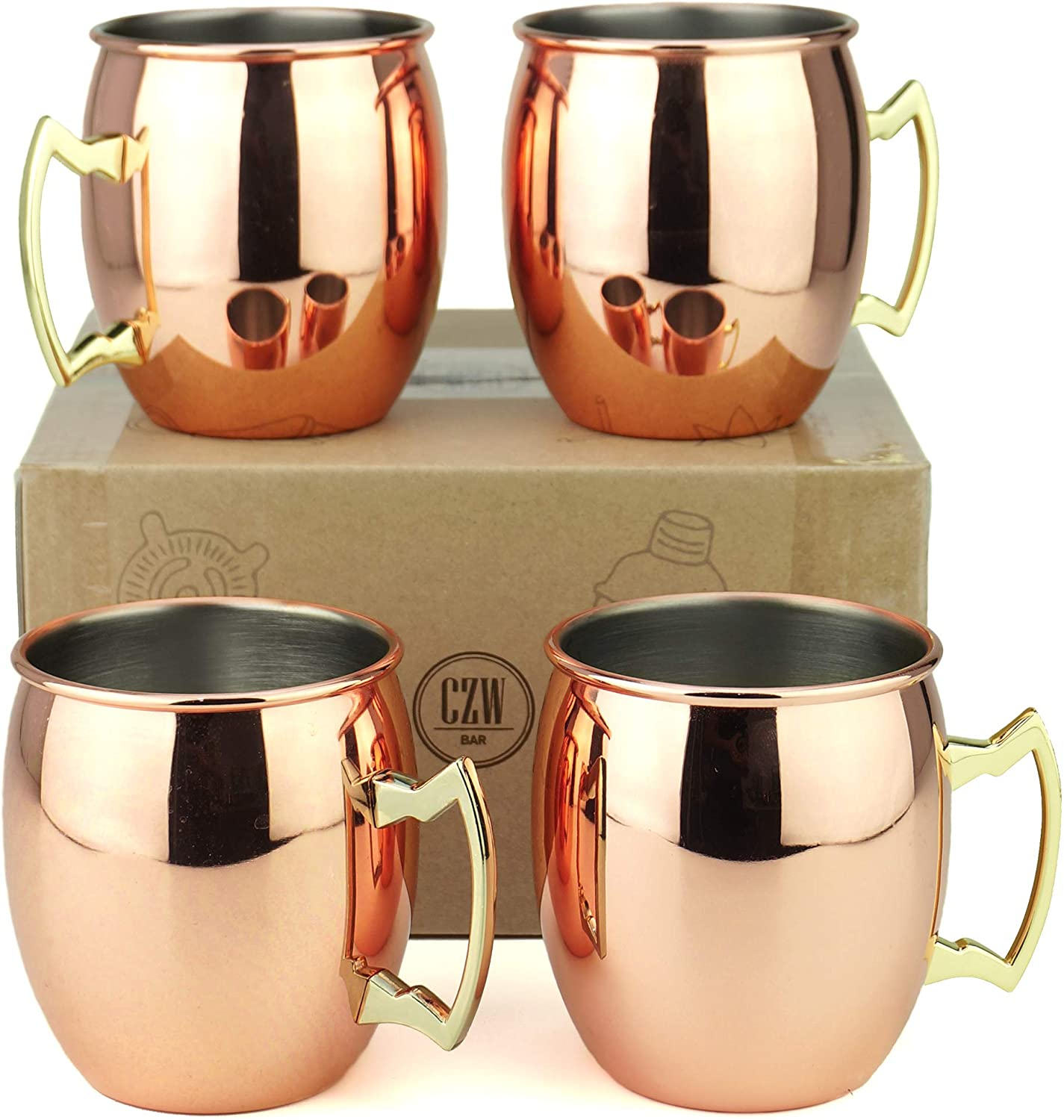 PG Copper/Rose Gold Plated Stainless Steel Moscow Mule Mug - Bar Gift Set 4 - Factory Direct (19.5 oz) - Authentic Traditional Design - Smooth Finish Original Brass Handle!