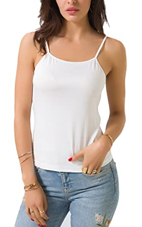 f4d7de6635 Zevrez Women s Basic Cami Camisole Stretchy Spaghetti Strap Tank Top(White  ...