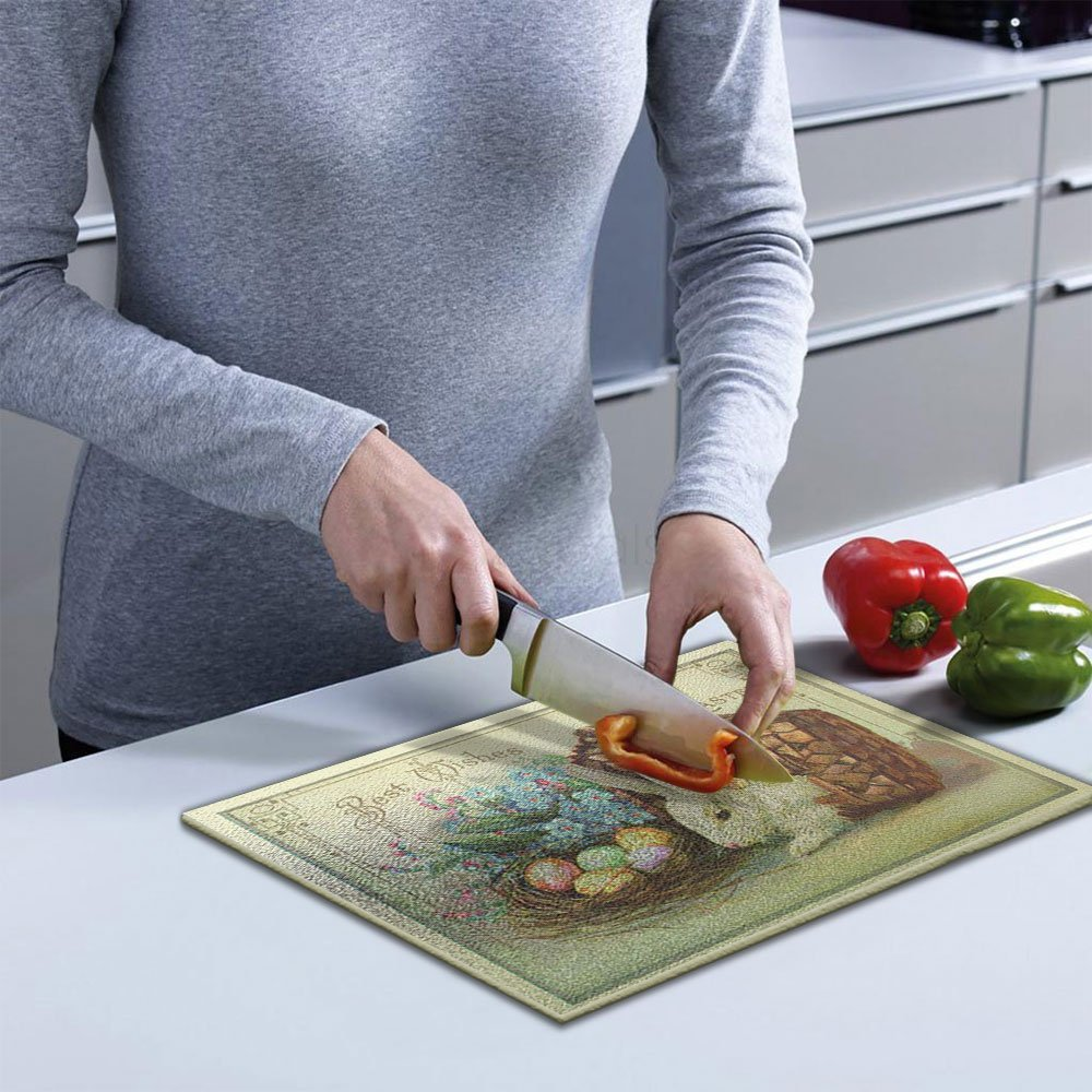 Non Slip Rubber Feet Scratch-Stain Resistant Printed Tempered Glass Cutting Board Kitchen Carving Boards TIMELESS BY DESIGN EASTER WISHES CUTTING BOARD Shatter Resistant 12 X 15 X 1//4