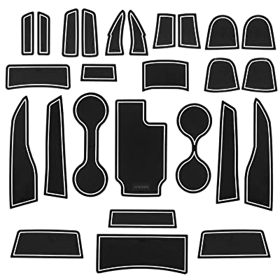 SENSHINE Cup Liner Door Mat for for Chevy Colorado and GMC Canyon 2020 2020 2020 2020 2016 2015 Center Console Liner Insert Accessories Kit Custom Fit(White Trim,Crew Cab,): Automotive