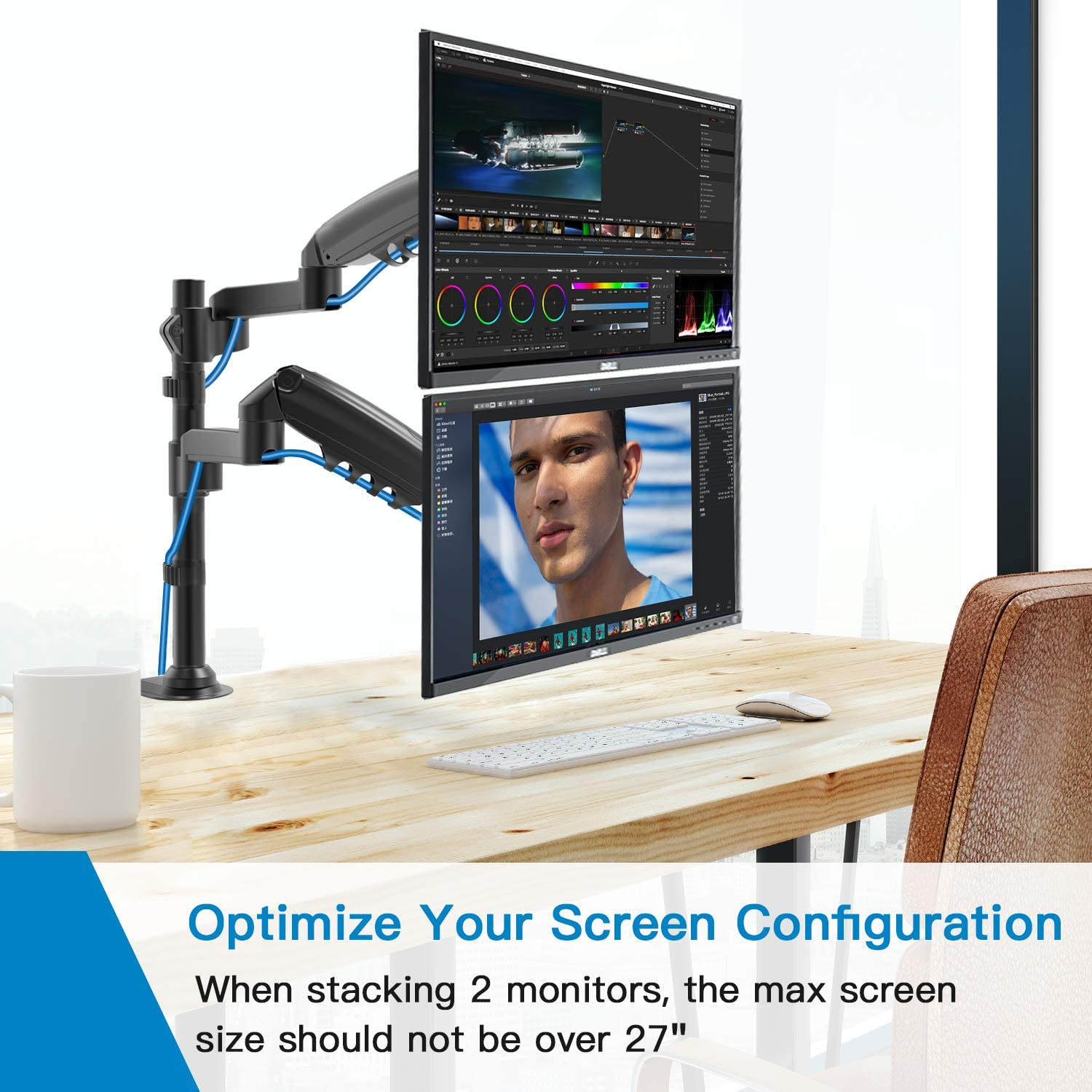 Dual Monitor Stand - Height Adjustable Gas Spring Double Arm Monitor Mount Desk Stand Fit Two 17 to 32 inch Screens with Clamp, Grommet Mounting Base, Each Arm Hold up to 19.8lbs : Office Products
