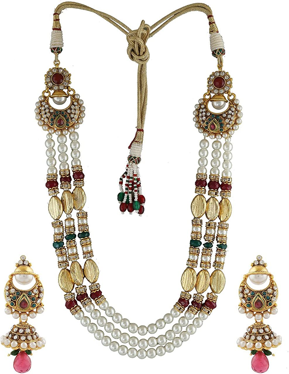 Anuradha Art Maroon-Green Combination Three Layers With Sparkling Stones Of Wonderful Necklace Set For Girls Women