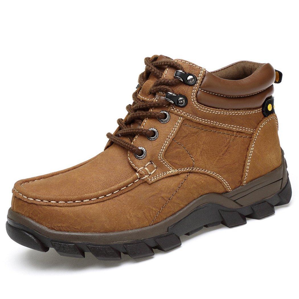 HHY-Cómodo y breathableWinter alta ayuda exterior caliente zapatos antideslizantes código grandes hombres zapatos de trekking, marrón claro y terciopelo , 39 39|Light brown plus cashmere Light brown plus cashmere