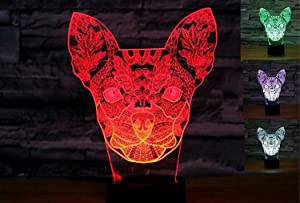 3D Chihuahua Dog Animal Night Light Puppy Table Lamp Decor Table Desk Optical Illusion Lamps 7 Color Changing Lights LED Table Lamp Xmas Home Love Birthday Children Kids Decor Toy Gift
