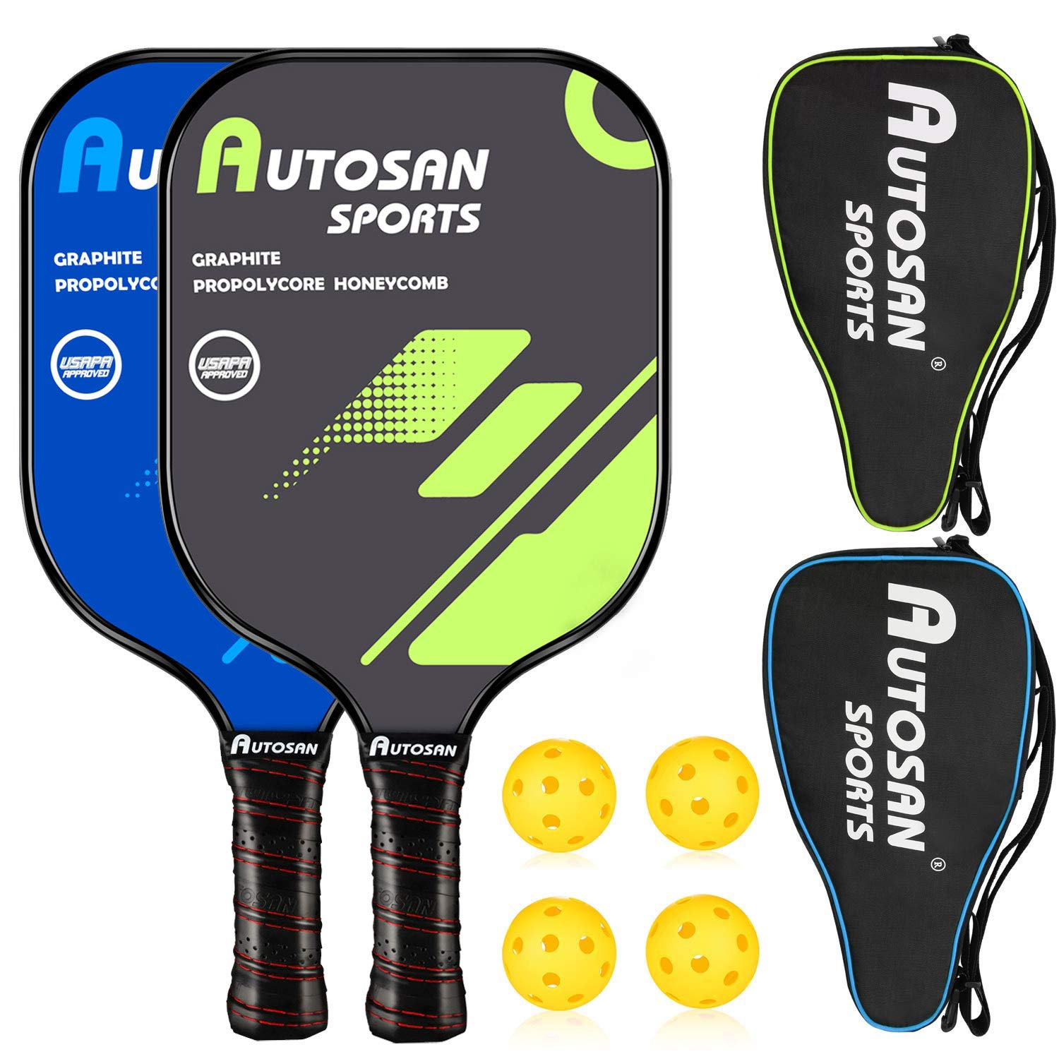 AUTOSAN Pickleball Paddle Graphite Pickleball Racket Set with Sling Bag & EBook Polymer Honeycomb Core Pickleball Paddle Ultra Cushion Grip Low Profile Edge Bundle USAPA Approved Pickleball Paddle