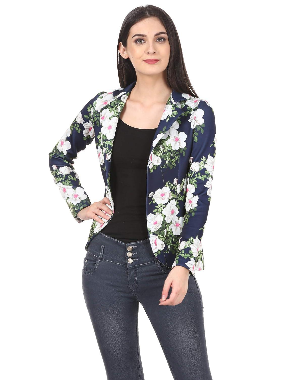 80a85fd629b Saadgi Women s Scuba Floral Printed Summer Blazers  Amazon.in  Clothing    Accessories