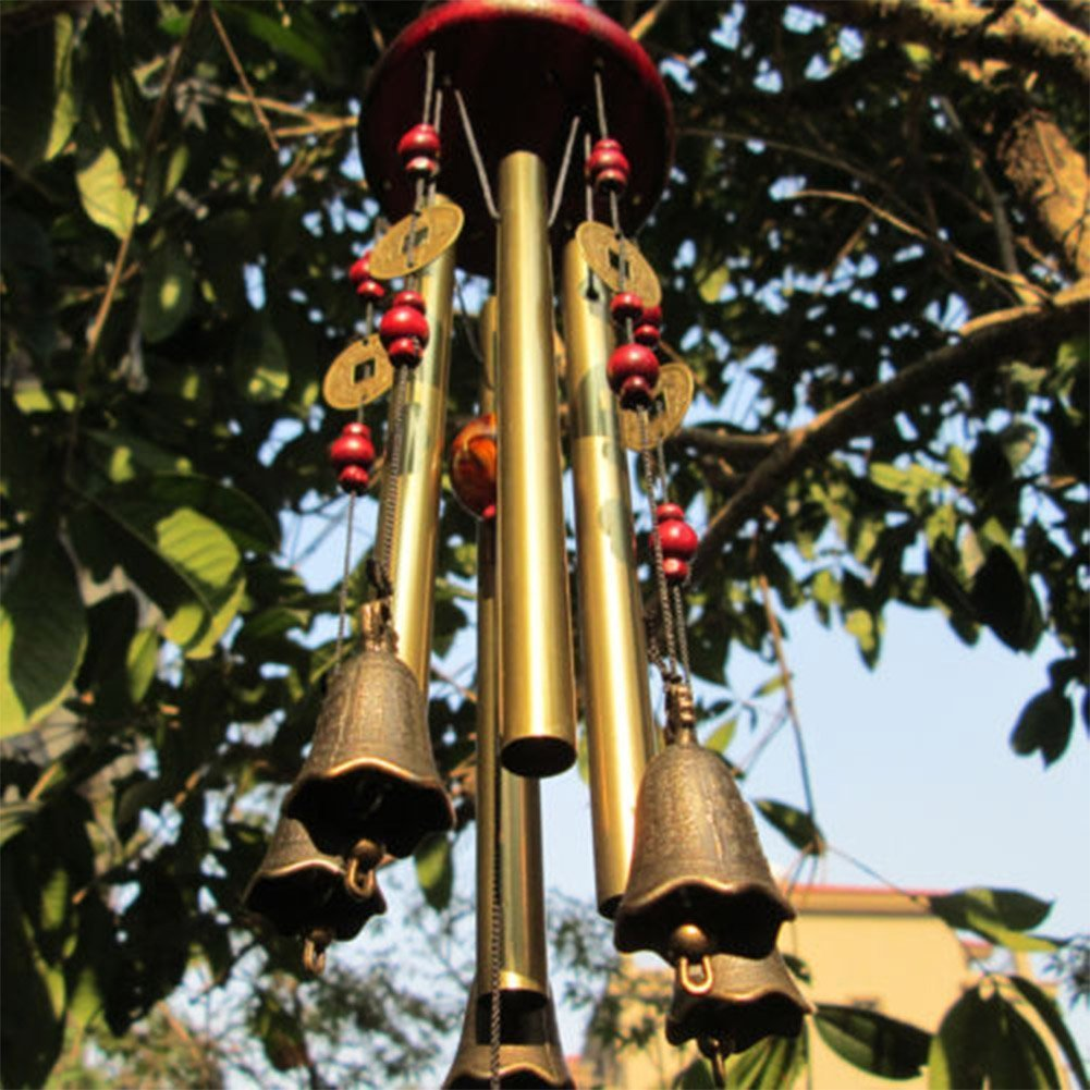 Wind Chimes MIRX Bronze Metal Wind Chimes 4 Tubes 5 Bells Woodstock 60cm Pure Handmade Wind Chimes Outdoor Indoor for Garden and Home, With Magical Ancient Chinese Coins