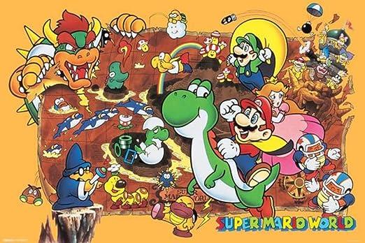Amazon Com Super Mario World Super Nintendo Nes Gameseries Characters Yoshi Luigi Princess Peach Cool Wall Decor Art Print Poster 36x24 Posters Prints