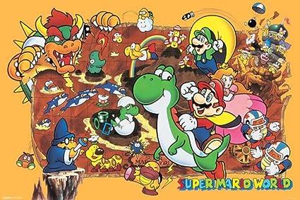 Amazoncom Super Mario World Poster Print 36 x 24 Posters Prints