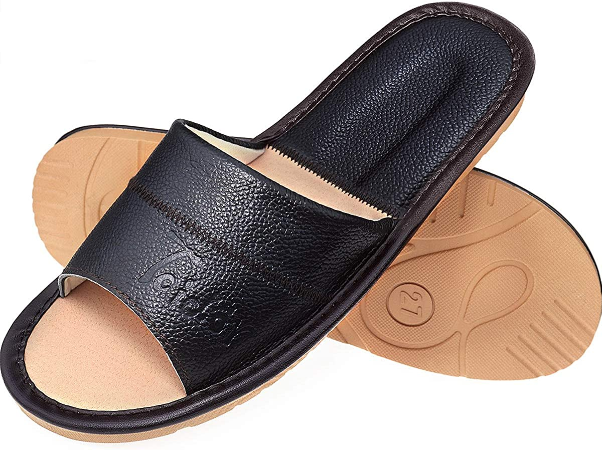Taidor Leather Slippers, Open Toes Indoor Slippers Leather Splicing Sandals Casual House Shoes Bedroom Slippers Office Slippers Gift for Mens Womens
