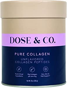 Dose & Co Pure Collagen Powder Unflavored 10oz (283g) – Hydrolyzed Collagen Peptides Supplement - Non-GMO, Dairy Free, Gluten Free, Sugar Free – Supporting Hair, Skin, and Nails