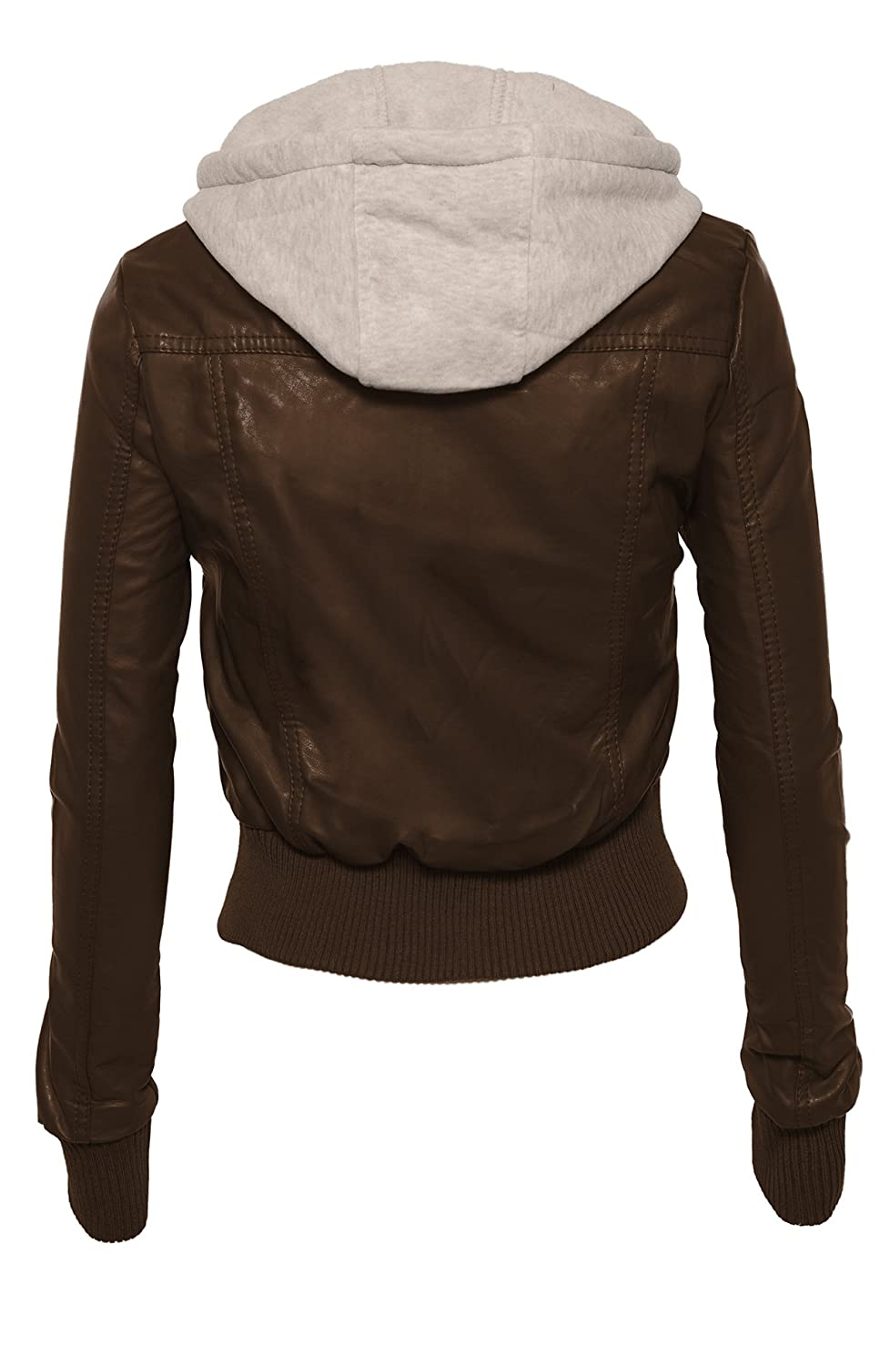 Women&39s Faux Leather Zip Up Moto Jacket with Fleece Hoodie and
