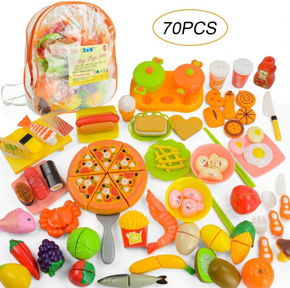 JoyGrow 70 PCS Alimentos de Juguete Pretend Food Toys Fruits Vegetable Fast Food Sushi Slicing Play Food Juguetes educativos Juego de Alimentos con Almacenamiento de Mochila (Orange)