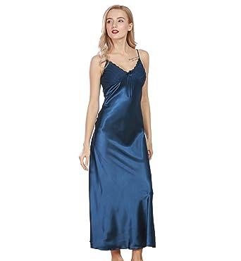 6452a60f57e7a Surenow Nuisette Robe de chambre Chemise de Nuit Longue Lingerie Sling en  Satin Sexy Uni Eté