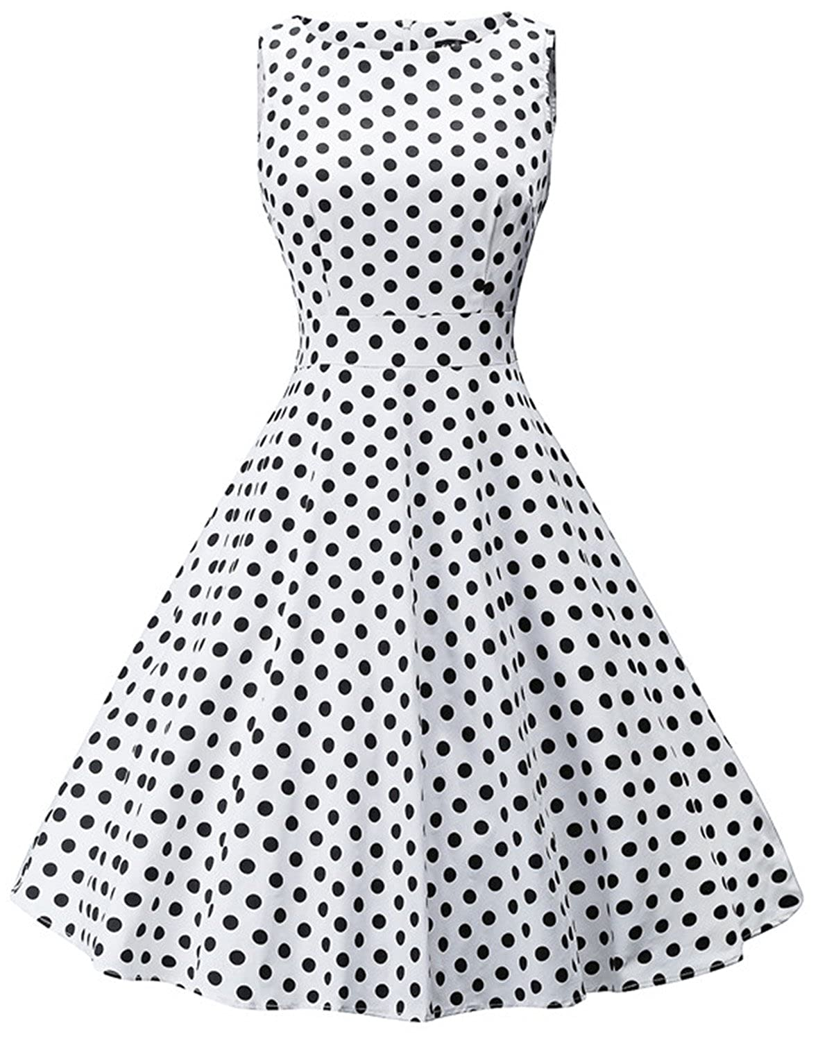 23337cf676a7 Features: Boatneck; Sleeveless; Polka Dot Print; Knee Length; Concealed  Zipper at Back; Fit and Flare Effects. Perfect for Birthday, Party Outfits  , Banquet ...