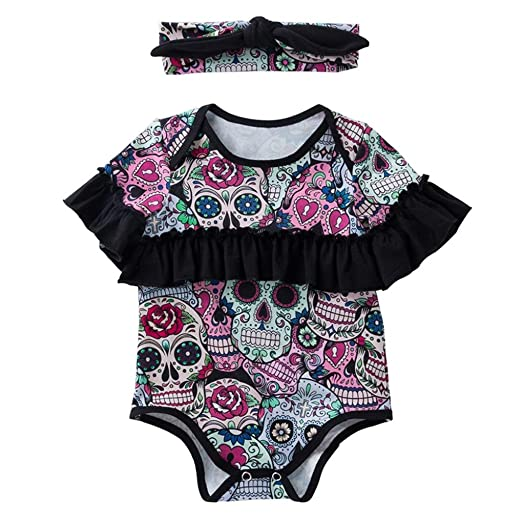 9c3abdd4e357 Hatoys Halloween Romper Cute Baby Girls Skull Bowknot Outfits Clothes  Bodysuit Jumpsuit Rompers (3M(