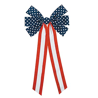 JUMBO PATRIOTIC FLOCKED BOWS - Party Decor - 12 Pieces: Toys & Games