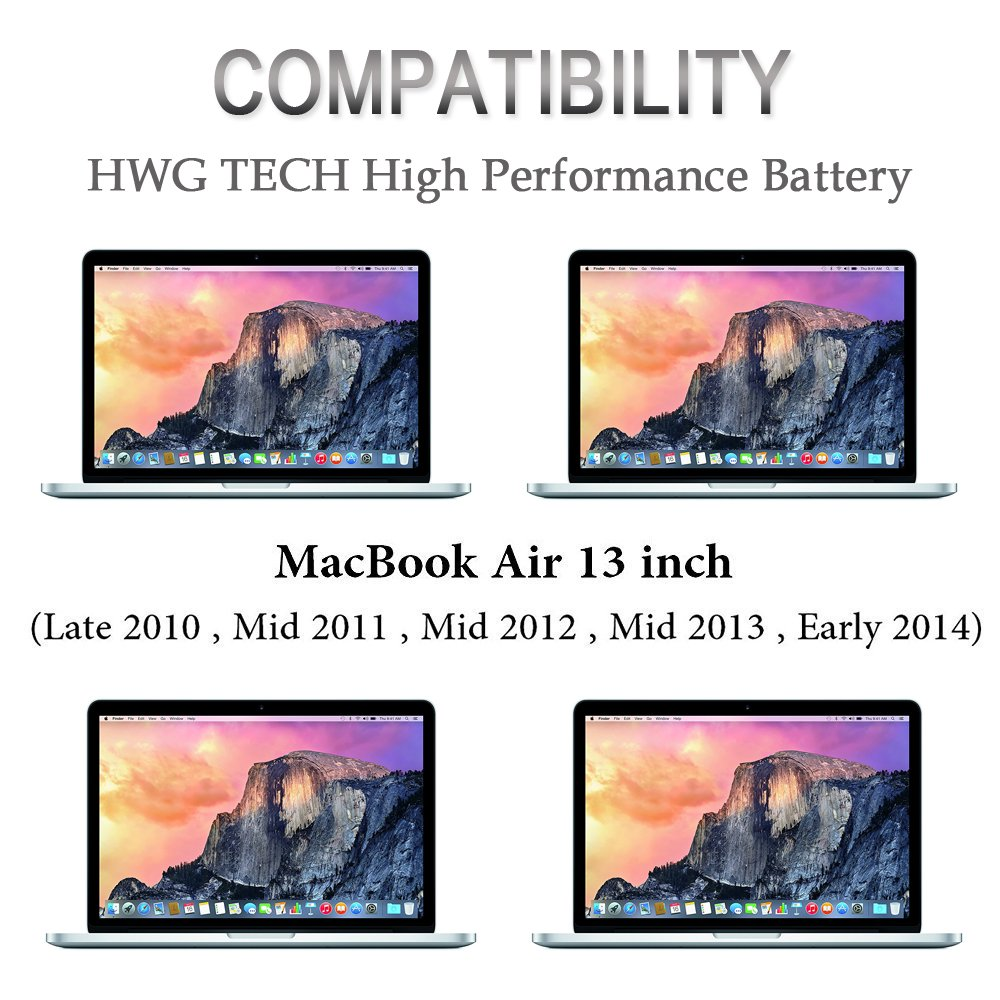 A1466 A1369 A1496 A1405 A1377 Battery for Apple MacBook Air 13 inch A1466 (Mid 2012, Mid 2013, Early 2014, Early 2015 Version), A1369 (Late 2010, Mid 2011 Version) Laptop Replacement Battery by HWG by HWG (Image #6)