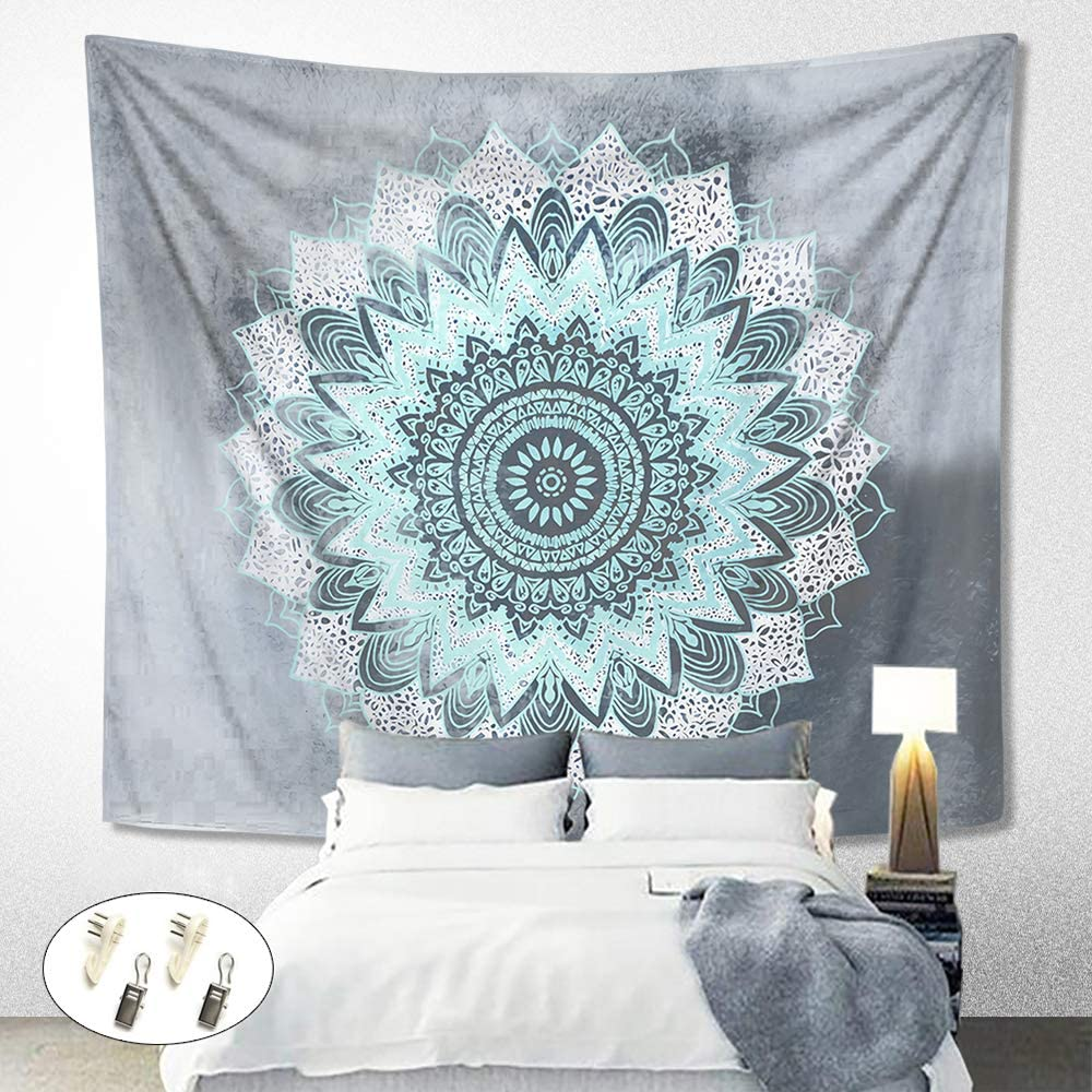 Tapestry Wall Hanging, NKTECH Trippy Mandala Wall Tapestry Hippie Bohemian Tapestries Wall Art Aesthetic Home Decorations for Living Room Bedroom Dorm Decor Grey 59.1x59.1 Inch