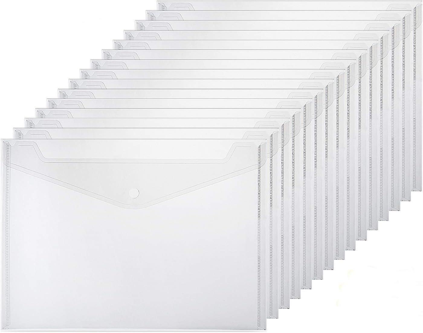 ZWOOS 20 Unidades Carpeta A4 Transparente, Carpetas Plástico A4 Carpetas para Archivo, Diseño con Botones