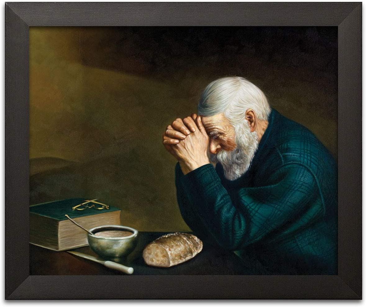 Gango Home Décor Daily Bread Man Praying at Dinner Table Grace Religious Wall Picture Art Black Framed Print