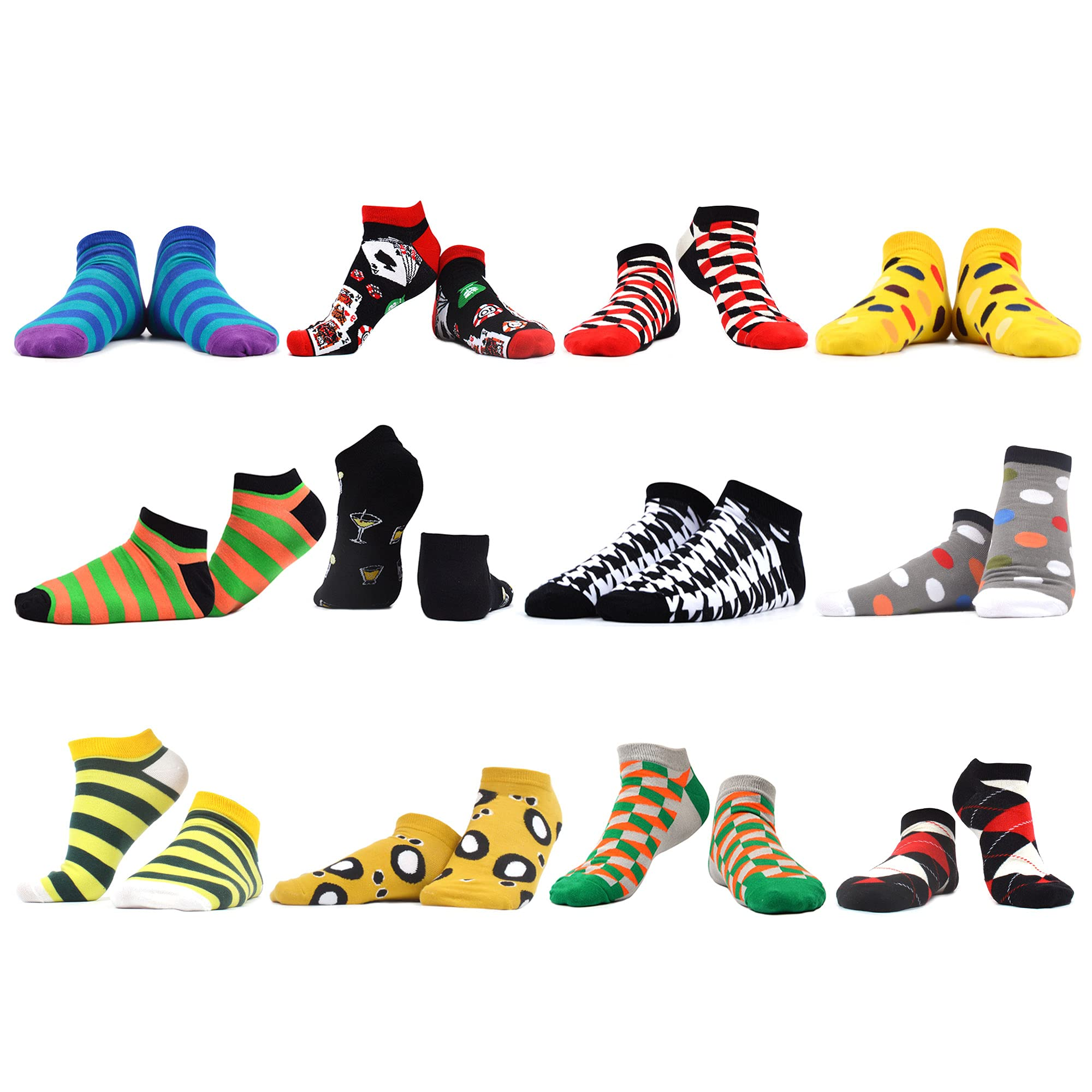 WAZATE Mens Happy Colorful Novelty Funny Socks Casual Invisible Combed Cotton Ankle