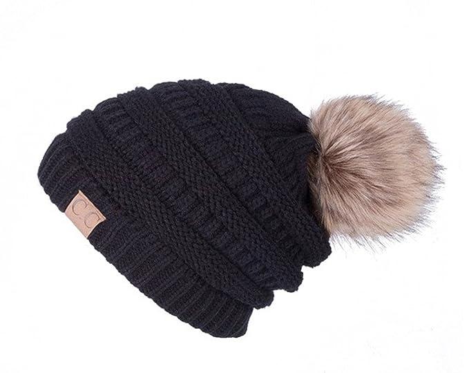 C.C CC Women s Slouchy Beanie Faux Fur Pom Pom (Beige)  Amazon.ca ... 89a6d9eec4f