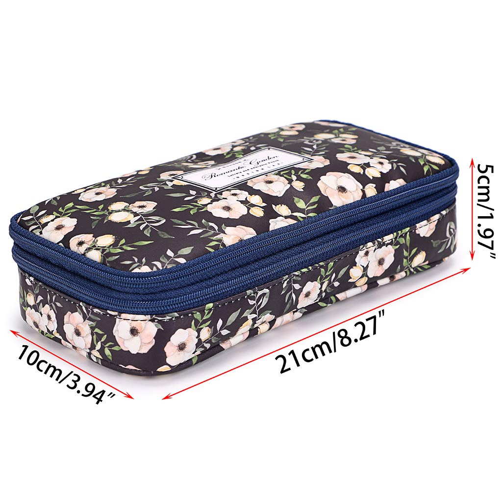 Amazon.com: BTSKY - Estuche doble con diseño floral: Office ...