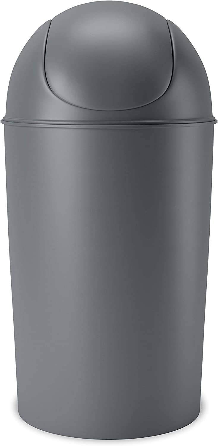 Umbra Grand Swing Top Garbage Large Capacity 10 Gallon Kitchen Trash Can with Lid, Indoor/Outdoor Use, Charcoal