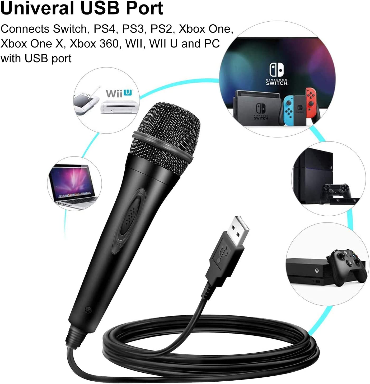Micrófono con cable para PS4/PS3/Nintendo Switch/Xbox One/Xbox 360/Wii/PC, Micrófono USB Universal soporta LA Voz, Lets Sing, Sing Party, Rock Band, Guitar Hero, Sing Star: Amazon.es: Videojuegos