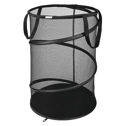 ff6d1a60049a InterDesign Collapsible Clothes-Black Pop-Up Mesh Laundry Hamper
