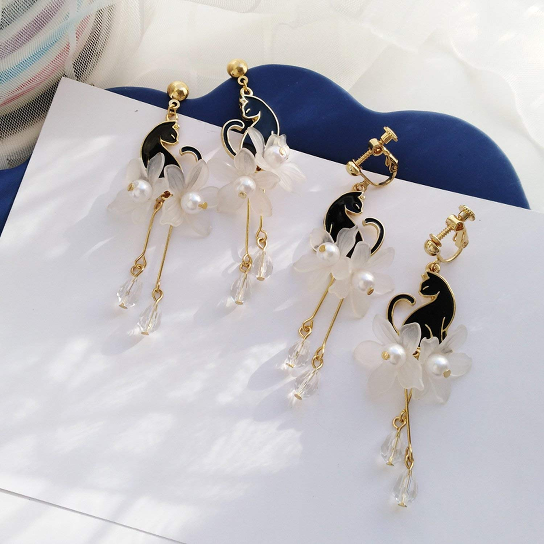 Fashion women stud earrings acrylic Black cat earrings white petals long tassels cat pearl earrings for women